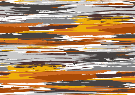 Vector seamless pattern with hand drawn rough edges textured brush strokes and stripes hand painted. Black, grey, yellow, orange, brown colors. Illustration