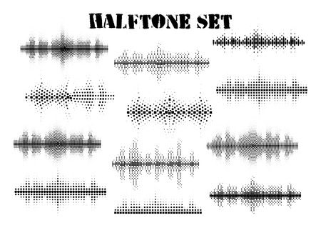 Halftone sound wave black and white patterns set.Tech music design elements isolated on white background