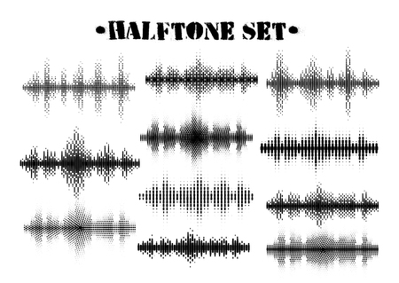 Halftone sound wave black and white patterns set. Tech music design elements isolated on white background. Perfect for web design, posters, musical banners, wallpapers, postcards.