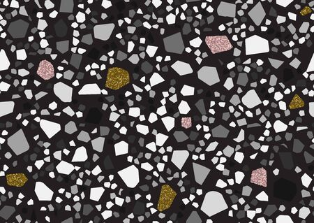 Abstract monochrome terrazzo seamless pattern. Gold, pink glitter textured elements. Black and white, shades of gray colors. Vector illustration
