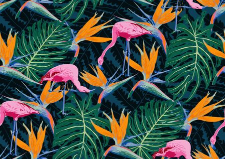 Bright Seamless pattern with flamingo birds, tropic flowers, monstera, palm leaves, jungle leaves, bird of paradise flower. Bohemian exotic print with organic shapes, spots, stains.