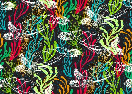 Underwater sealife seamless pattern with seaweed plants, turtles, corals drawing. Hand drawn stylish abstract seamless pattern in blue, green, pink, orange colors. Ilustração