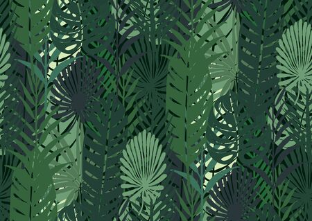 Seamless pattern with trendy tropical summer motifs, exotic leaves and plants. Gold glitter texture, green, blue, pink colors. For fabric, wallpapers, textile.