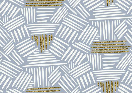 Vector seamless pattern with hand drawn gold glitter textured brush strokes and stripes hand painted. Grey, white, golden colors.