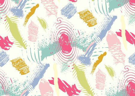 Vector seamless pattern with hand drawn textured brush strokes, stripes hand painted. White, pink, green, blue colors. Ilustração
