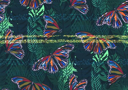 Seamless pattern with trendy tropical summer motifs, colorful butterflies, exotic leaves and plants. Gold glitter texture, green, blue, pink colors. For fabric, wallpapers, textile. Иллюстрация