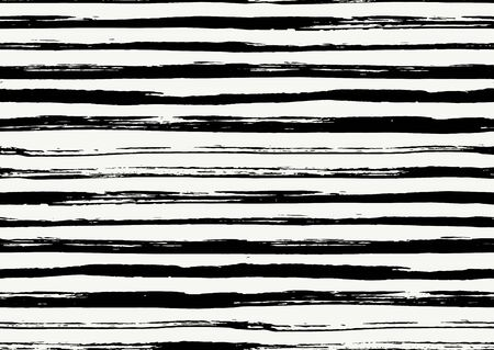 Vector seamless pattern with hand drawn rough textured brush strokes and stripes hand painted. Black and white colors.