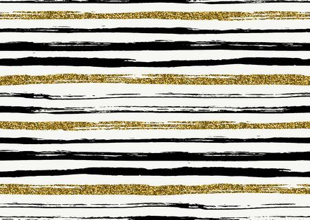 Vector seamless pattern with hand drawn gold glitter textured rough brush strokes and stripes hand painted. Black, gold, white colors.