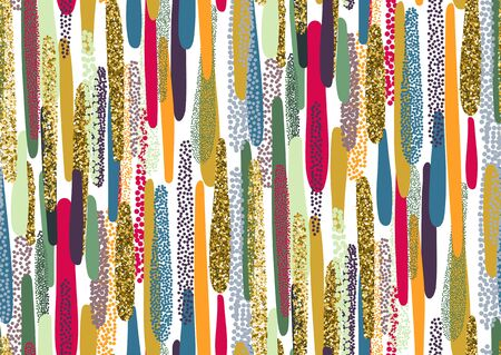 Vector seamless pattern with hand drawn gold glitter textured brush strokes and stripes hand painted. Black, gold, pink, yellow, green, beige colors. Illustration