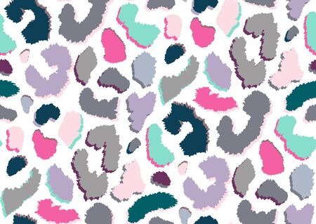Abstract styled animal skin leopard seamless pattern design. Jaguar, leopard, cheetah or panther fur. Pink, blue, gray, white, green colors texture seamless camouflage