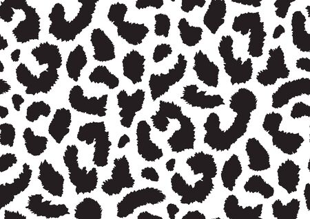 Abstract styled animal skin leopard seamless pattern design. Jaguar, leopard, cheetah, panther fur. Black and white seamless camouflage background. Ilustración de vector