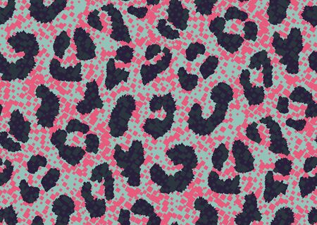 Bold abstracted pixels leopard skin seamless pattern design. Jaguar, leopard, cheetah, panther animal print. Seamless camouflage background.