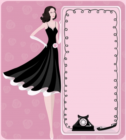 woman on phone: Lady and retro phone   A scenic retro image of expectation of phone call  Vector illustration  Illustration
