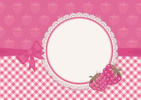 raspberry pink: Greeting card with raspberry  Lace frame and pink checked background