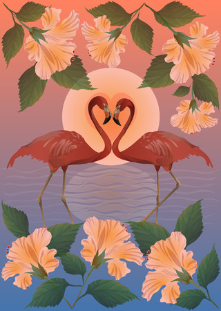 Romantic red flamingo and the moon  Landscape with flowers hibiscus and aqua  Vector