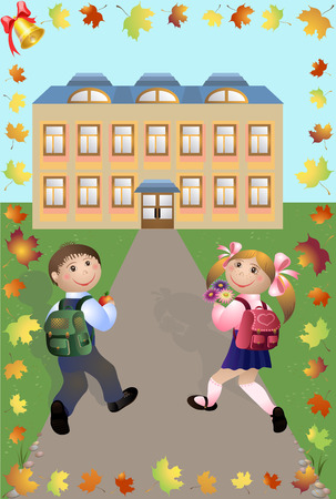 classes schedule: Children go to school illustration