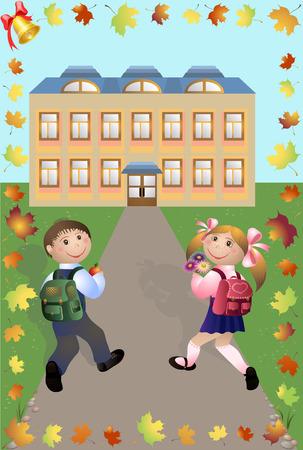 road grader: Children go to school illustration