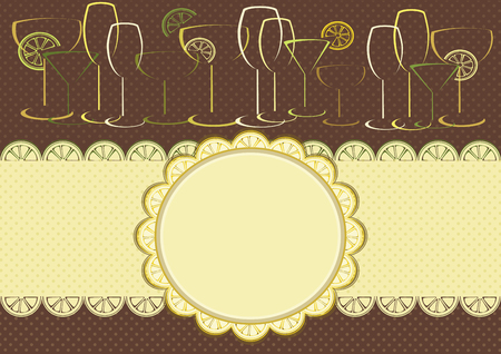 Greeting card.  Frame with citrus and glasses  Vector