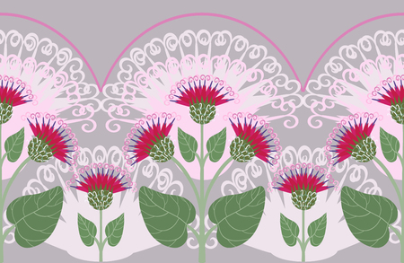 Seamless border with burdock flowers Vector