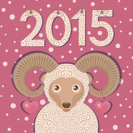 Ram with hearts and pink background.  New year greeting card. Vector