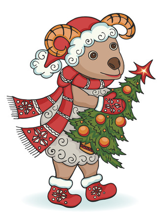 New year ram with Christmas tree. Symbol of New year 2015.