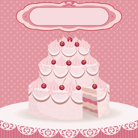 Greeting card with sweet wedding cherry cake Vector