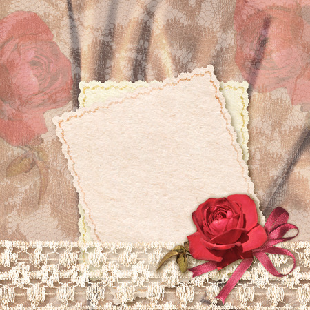 Greetings card with rose and lace photo