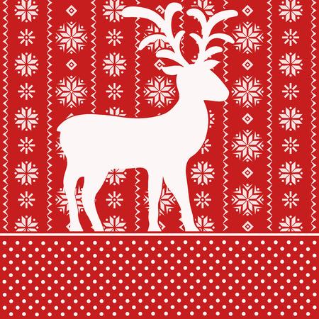 scandinavian christmas: Christmas card with scandinavian reindeer
