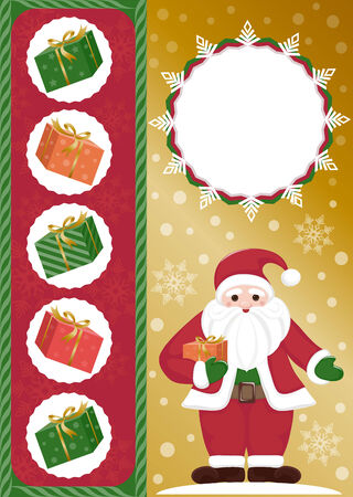 solemn: Santa Claus with gifts. Greeting card.