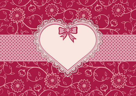 Greetings card with heart frame Vector