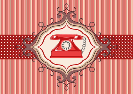 payphone: Vintage card and old red telephone