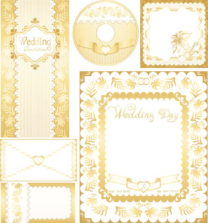 Wedding set. Golden backgrounds with lilies flowers Vector