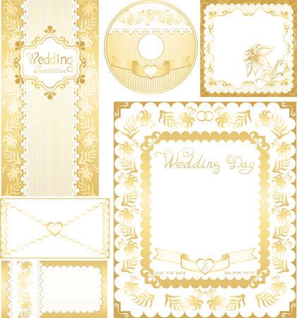 Wedding set. Golden backgrounds with lilies flowers Vector