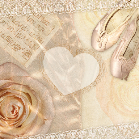 frill: Rose with ballet slippers and notes. Beautiful background and heart frame. Stock Photo