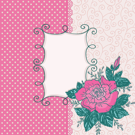 Invitation card with pink rose flower. Beautiful background and frame. Vector