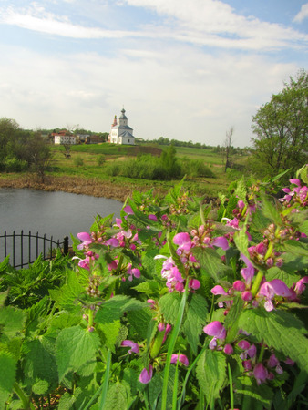 Landscape with flowers, river and Church. Spring season. photo