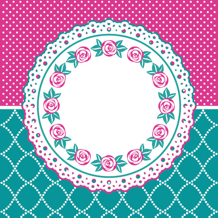 Greeting card with lace frame. Decorative dotted pink and turquoise background. Vector illustration.