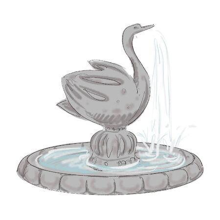 cute sketch of a small garden fountain in the form of a swan illustration