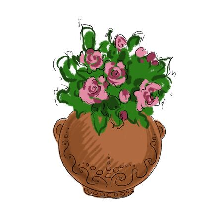 cute sketch clay pot with blooming rose bush illustration
