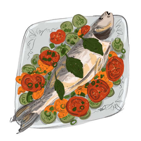 drawing of baked tasty appetizing healthy fish with vegetables and spices on a dish illustration