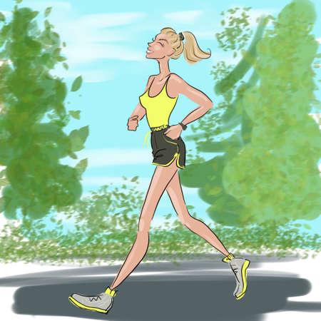 smiling girl runs in the park sketch illustration 版權商用圖片