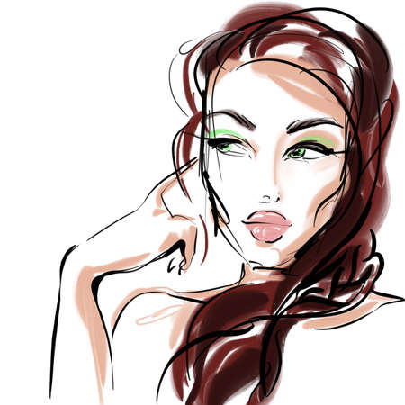 face of a beautiful girl looks away closeup illustration for decor