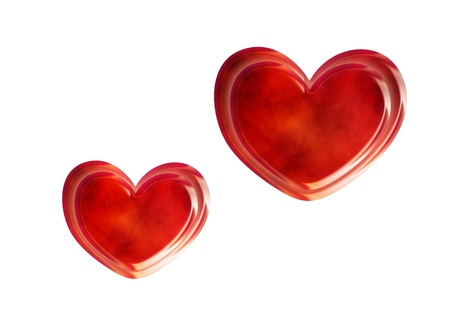 two red hearts isolate on wite background