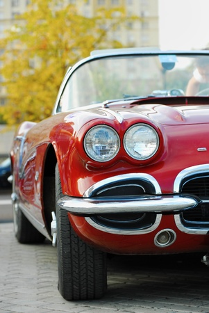 """superleggera: MOSCOW – JULY 31:Red Corvet front Light  on exhibition parking night rally of retro-cars """"Night Moscow Classic Rally-2010"""""""
