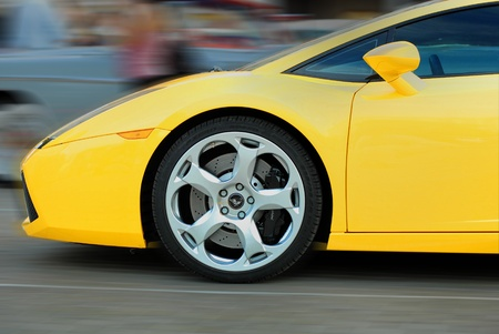 MOSCOW-JULY 31: Yellow Lamborghini  on exhibition parking night rally of retro-cars Night Moscow Classic Rally-2010