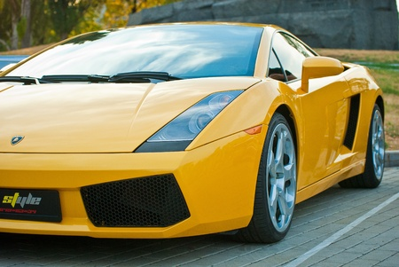 MOSCOW, RUSSIA-JULY 31: Yellow Lamborghini on exhibition parking at an annual event, the VI race of vintage cars Night Moscow Classic Rally. July 31, 2010 in Moscow, Russia Editorial