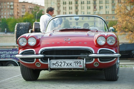 MOSCOW, RUSSIA-JULY 31: Red Corvet on exhibition parking at an annual event, the VI race of vintage cars Night Moscow Classic Rally. July 31, 2010 in Moscow, Russia