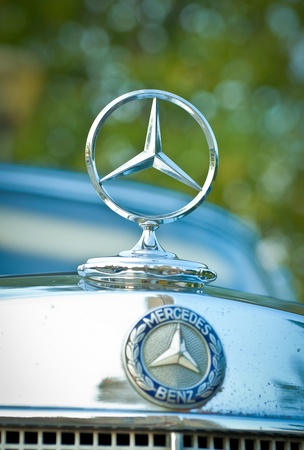 superleggera: MOSCOW - JULY 31:Mercedes-Benz emblem on exhibition parking at an annual event the VI race of vintage cars Night Moscow Classic Rally. July 31, 2010 in Moscow, Russia Editorial