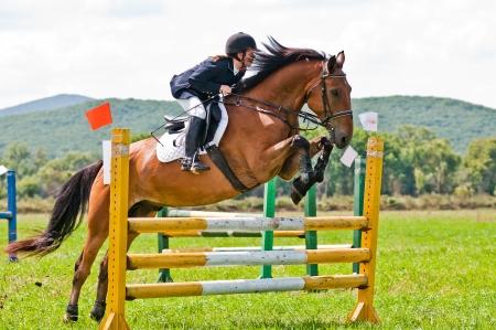 springpaard: ARSENEV, RUSLAND - SEPTEMBER 03: Niet geïdentificeerde ruiter in actie ritten paardenshow springt op de Riding tonen