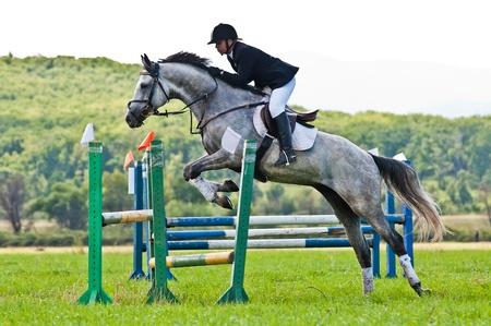 ARSENEV, RUSSIA - 3 settembre: il pilota non identificati in corse salti mostrano azione cavallo al Salone di equitazione Editoriali
